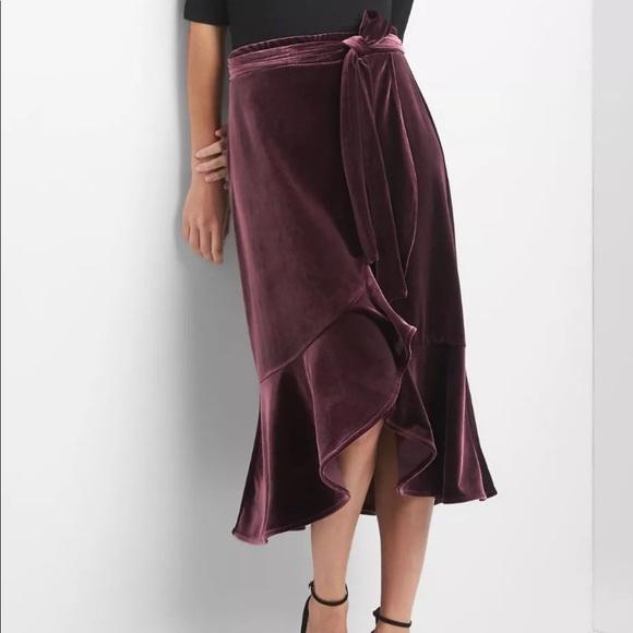 958723a73c3c5 Gap Mauve Purple Velvet Faux Wrap Skirt Sz M
